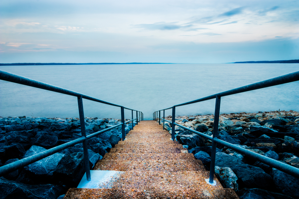 Stairway To The Lake On An Overcast Evening At Sardis Lake In Mississippi