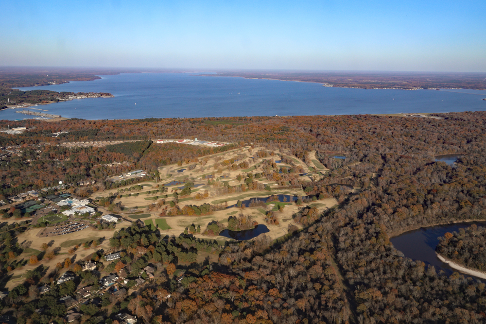 Jackson, MS - USA / December 2, 2018: Pearl River and Ross Barnett Reservoir with autumn trees in Mississippi