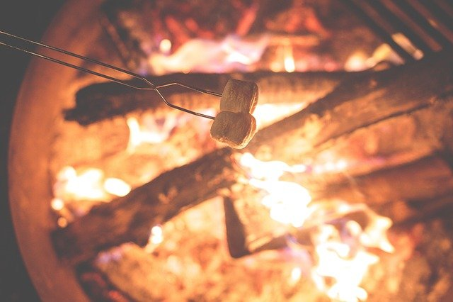 marshmallows roasting over a campfire