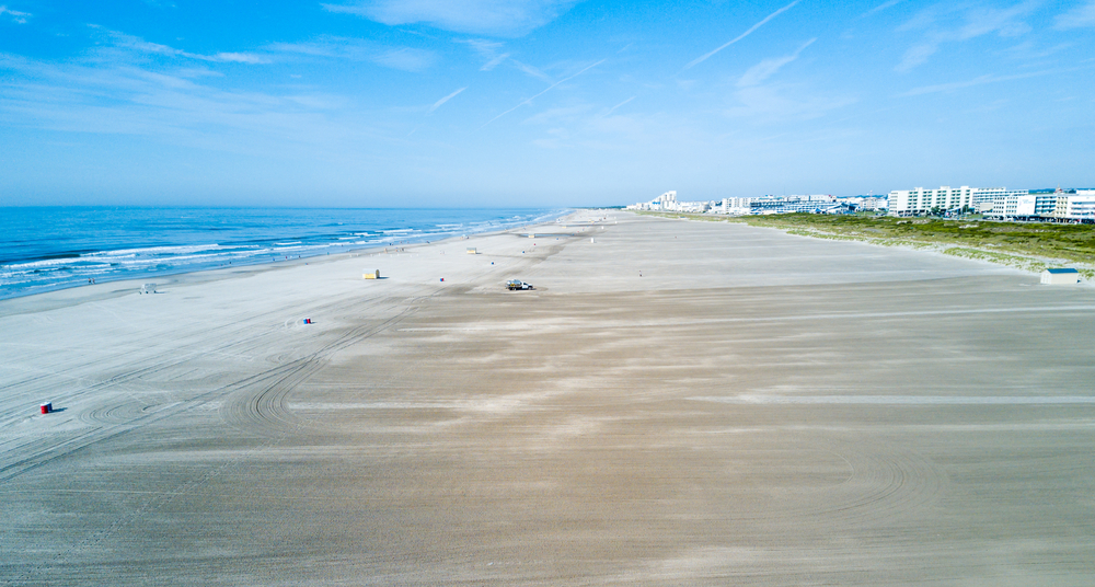 Wildwood Crest wide beach from above, New Jersey, USA
