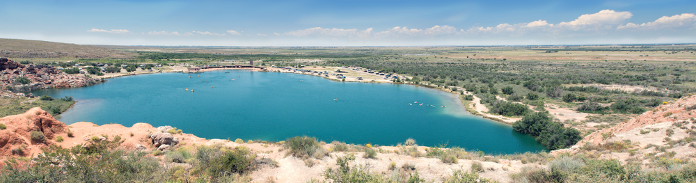 Bottomless Lakes State Park, Roswell, New Mexico, US. View from above