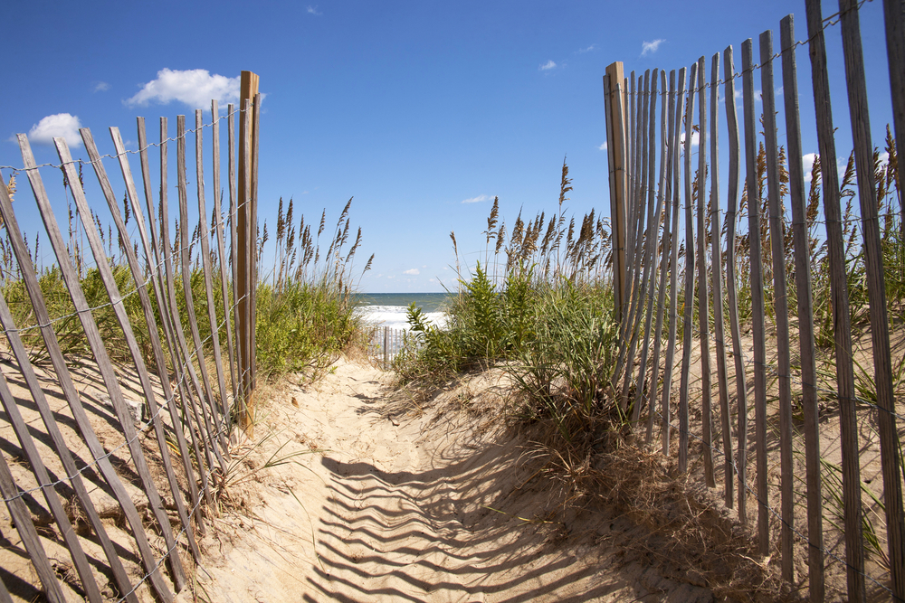 Entrance to the beach over sand dunes
