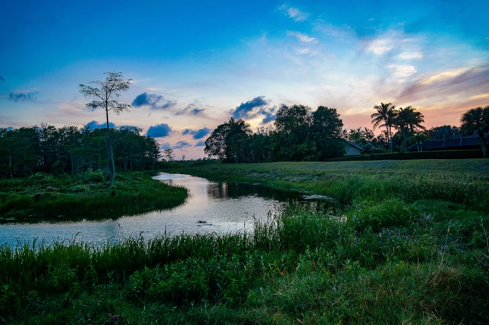 Purple, blue and pink colors mark a sunset over a river and wetland area