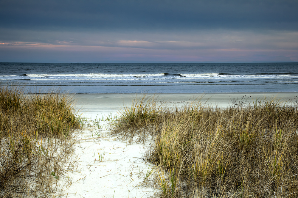 A sandy pathway through the dunes leads to the oceanside under a purple sky