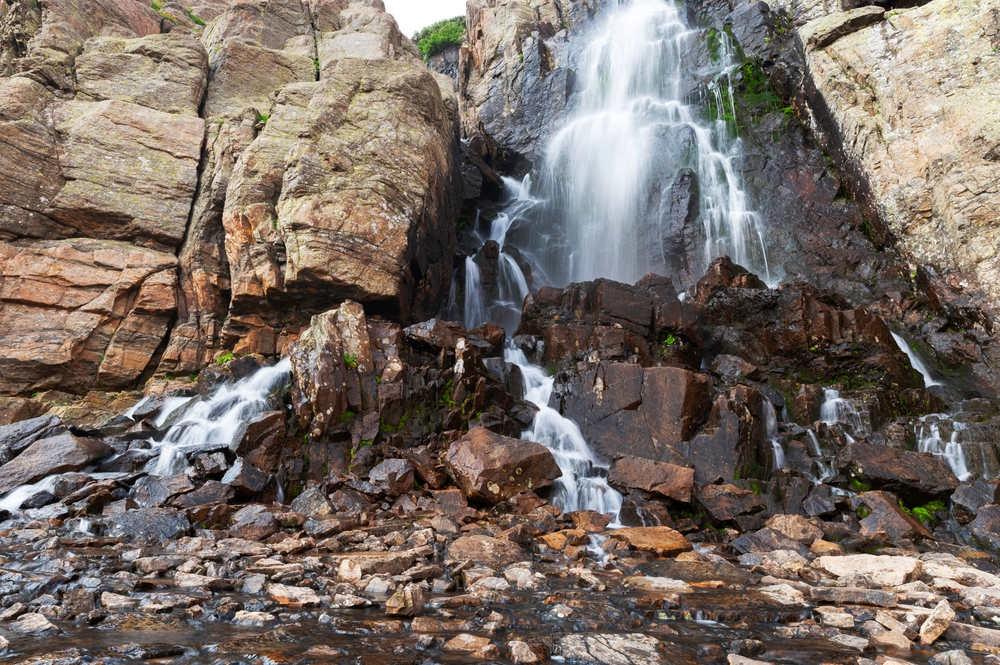 Timberline Falls, summer time in Rocky Mountain National Park, Colorado, USA, a popular waterfall hike