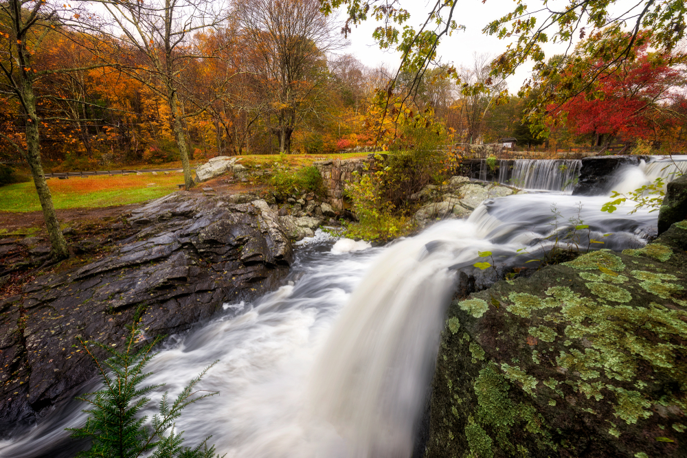 Autumn at Southford Falls in Oxford, Connecticut, USA.