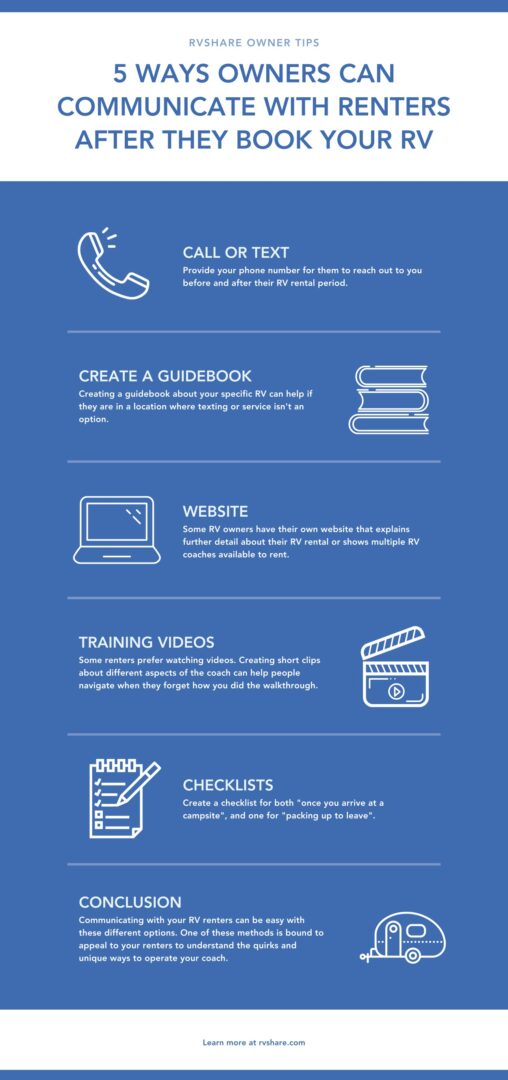 infographic explaining 5 ways owners can communicate with renters after booking their rv