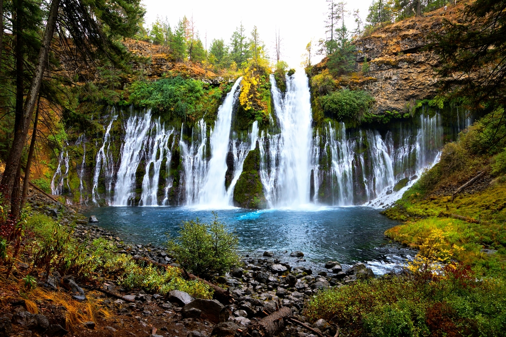 Picturesque McArthur-Burney Falls in northern California during autumn, USA